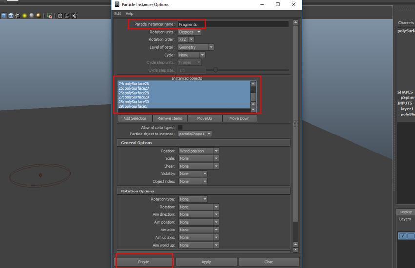 Particles Instancer Options box