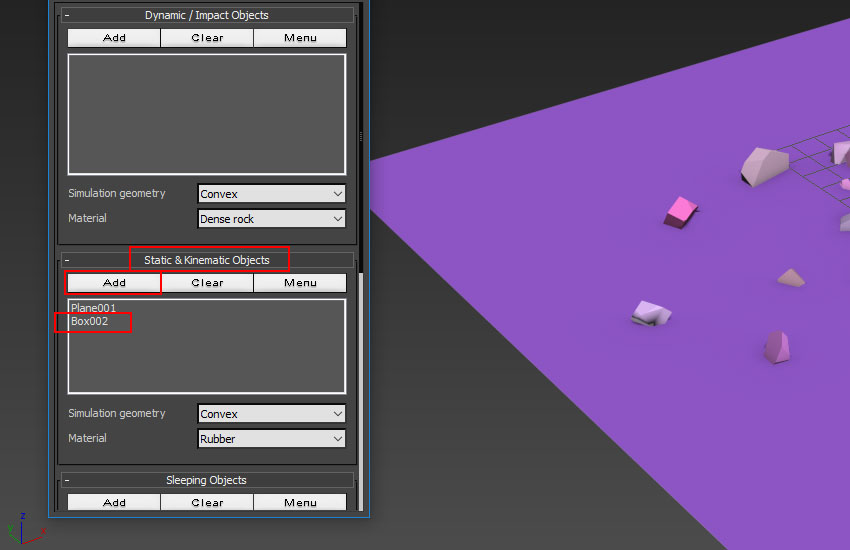 go to Static  Kinematic Objects window
