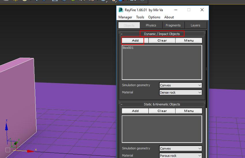 go to Dynamic Impact Objects window