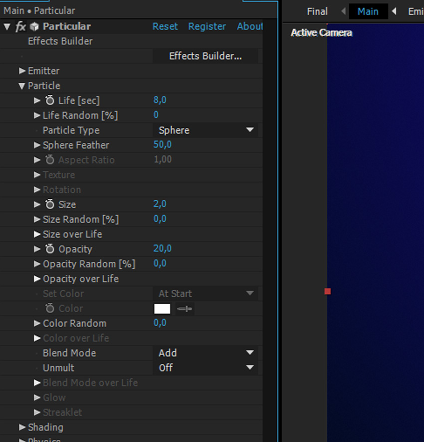 Change Particle Settings