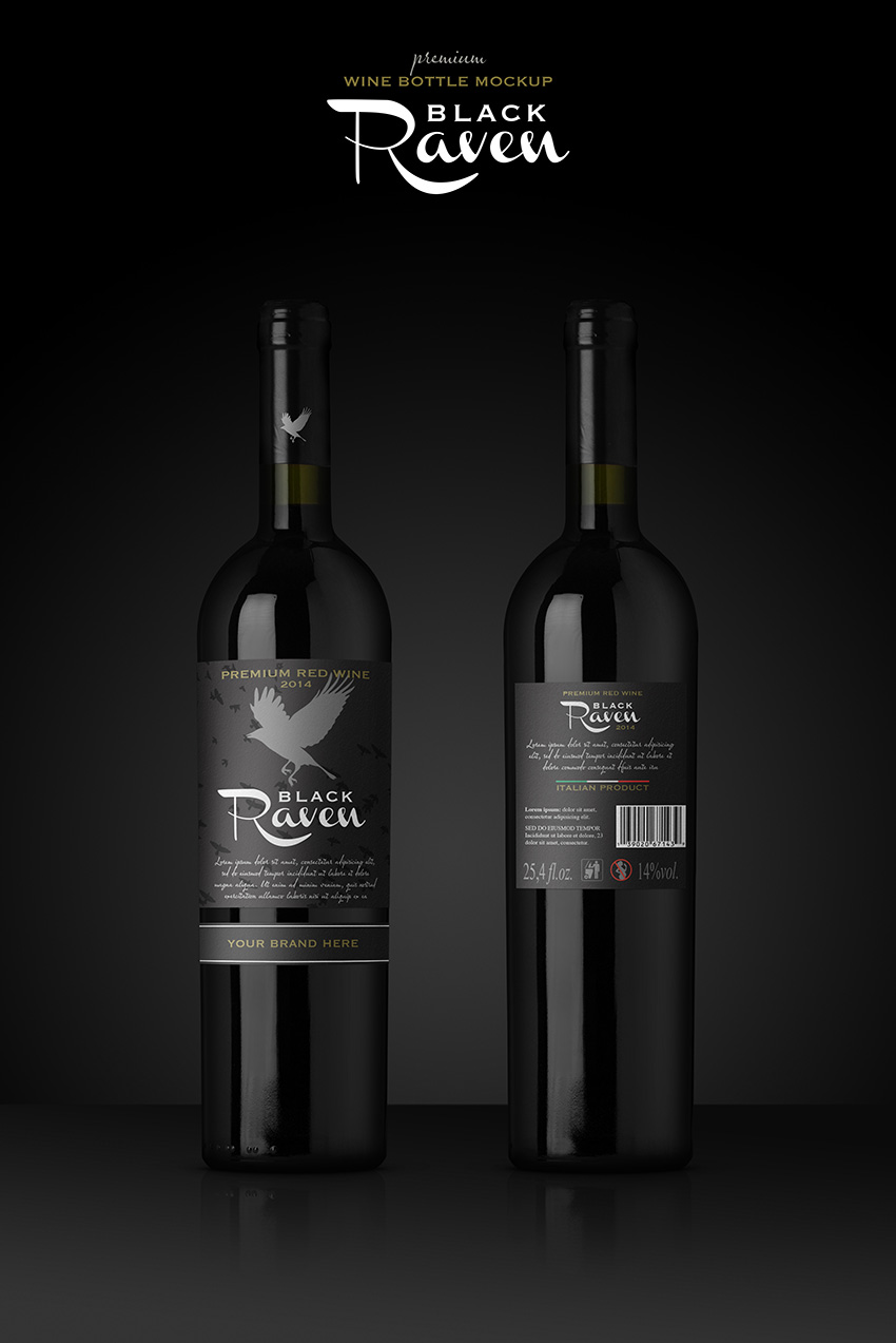 Premium Red Wine Mockup on GraphicRiver
