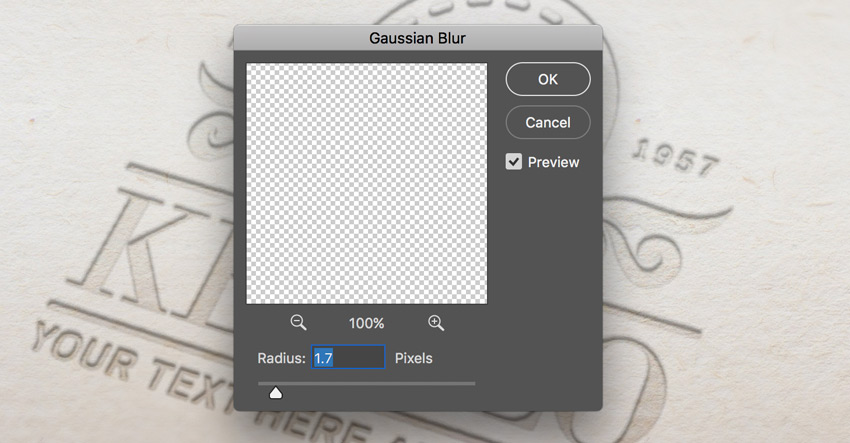 Gaussian blur filter dialog