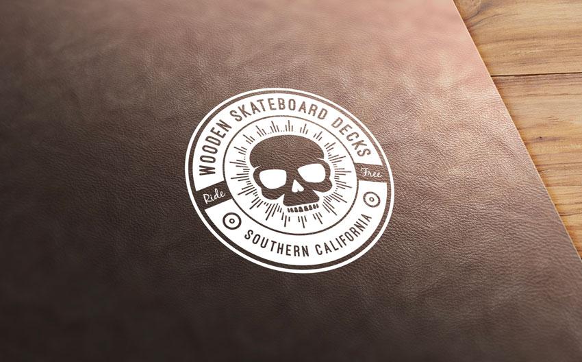 Leather stamp logo mockup