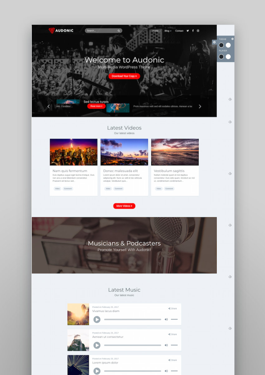 Audonic Music  Podcasting WordPress Theme