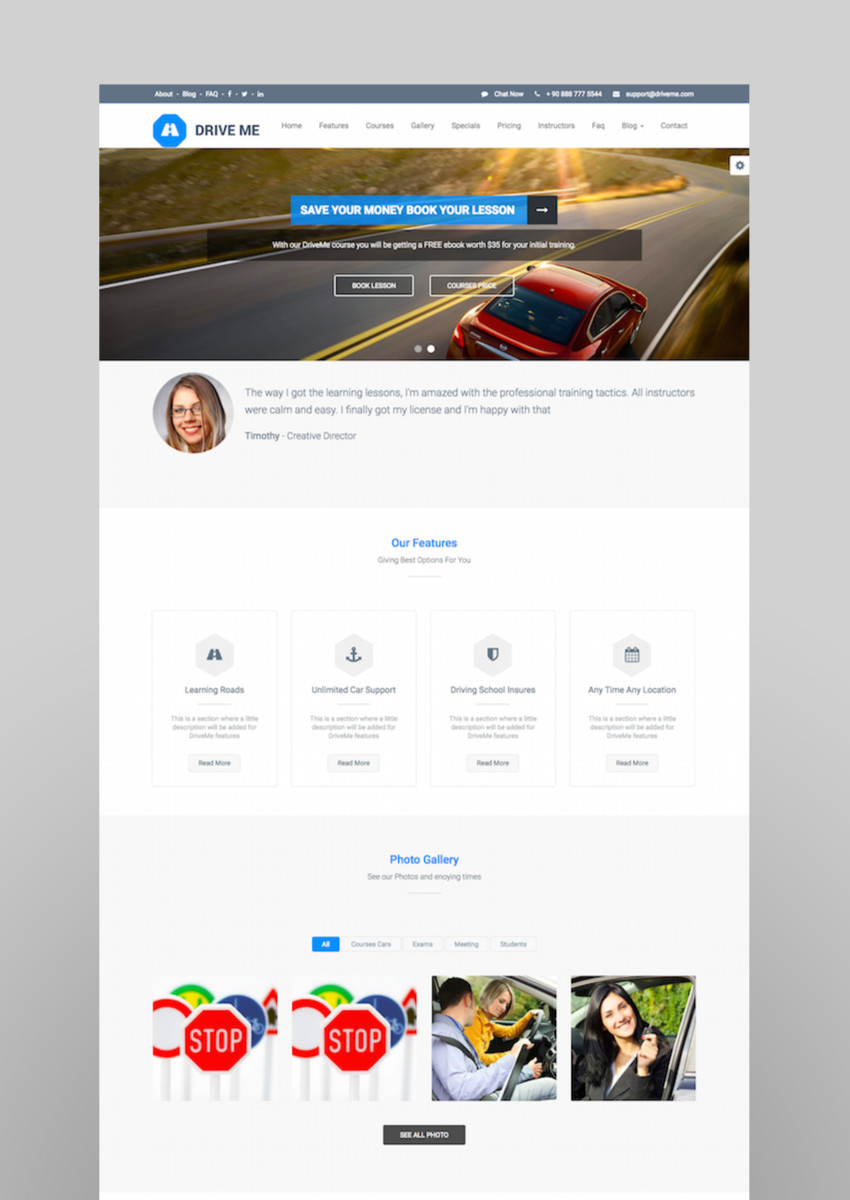 Driveme - Driving School WordPress Theme