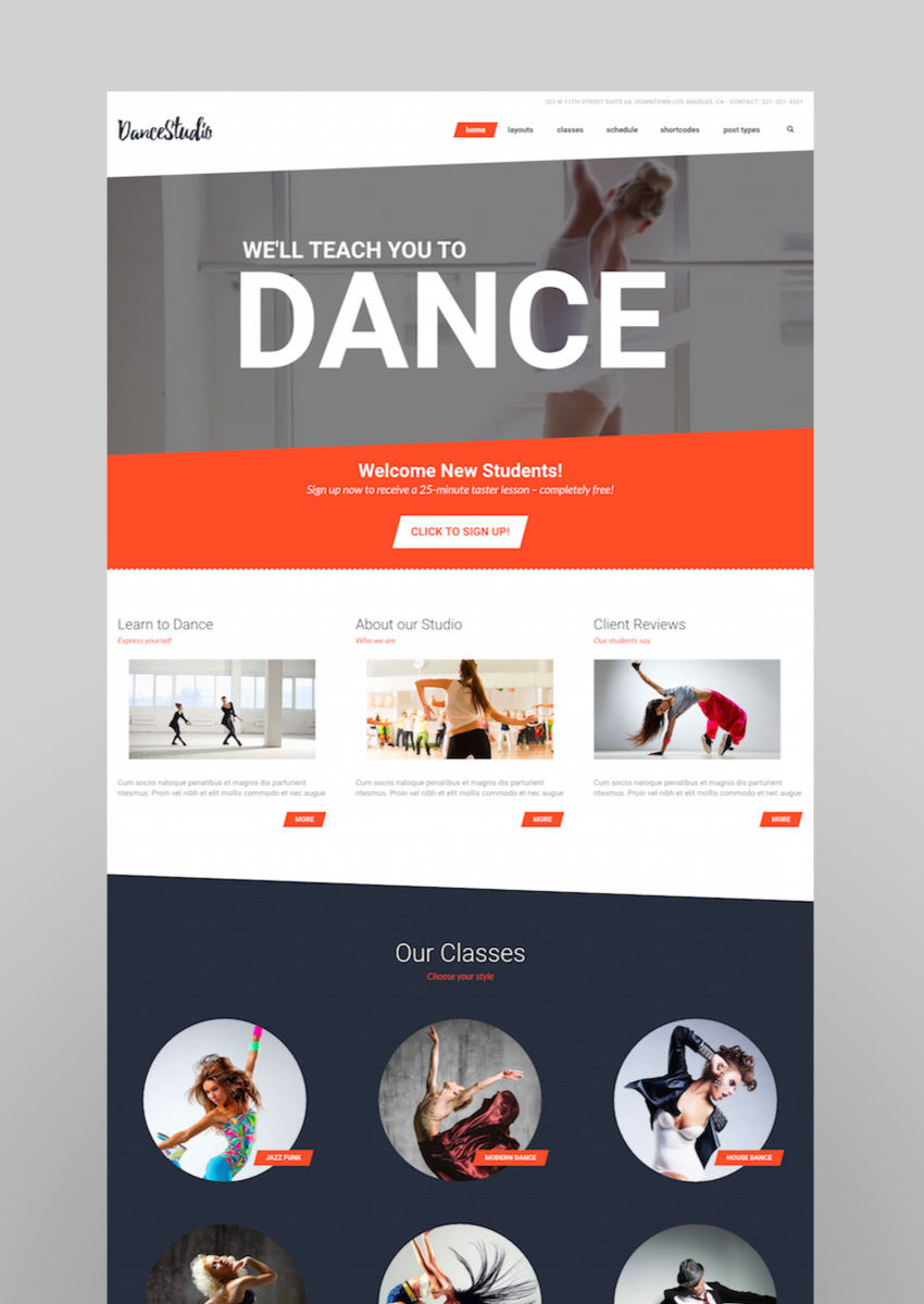Dance Studio - WordPress Theme for Dancing Schools  Clubs