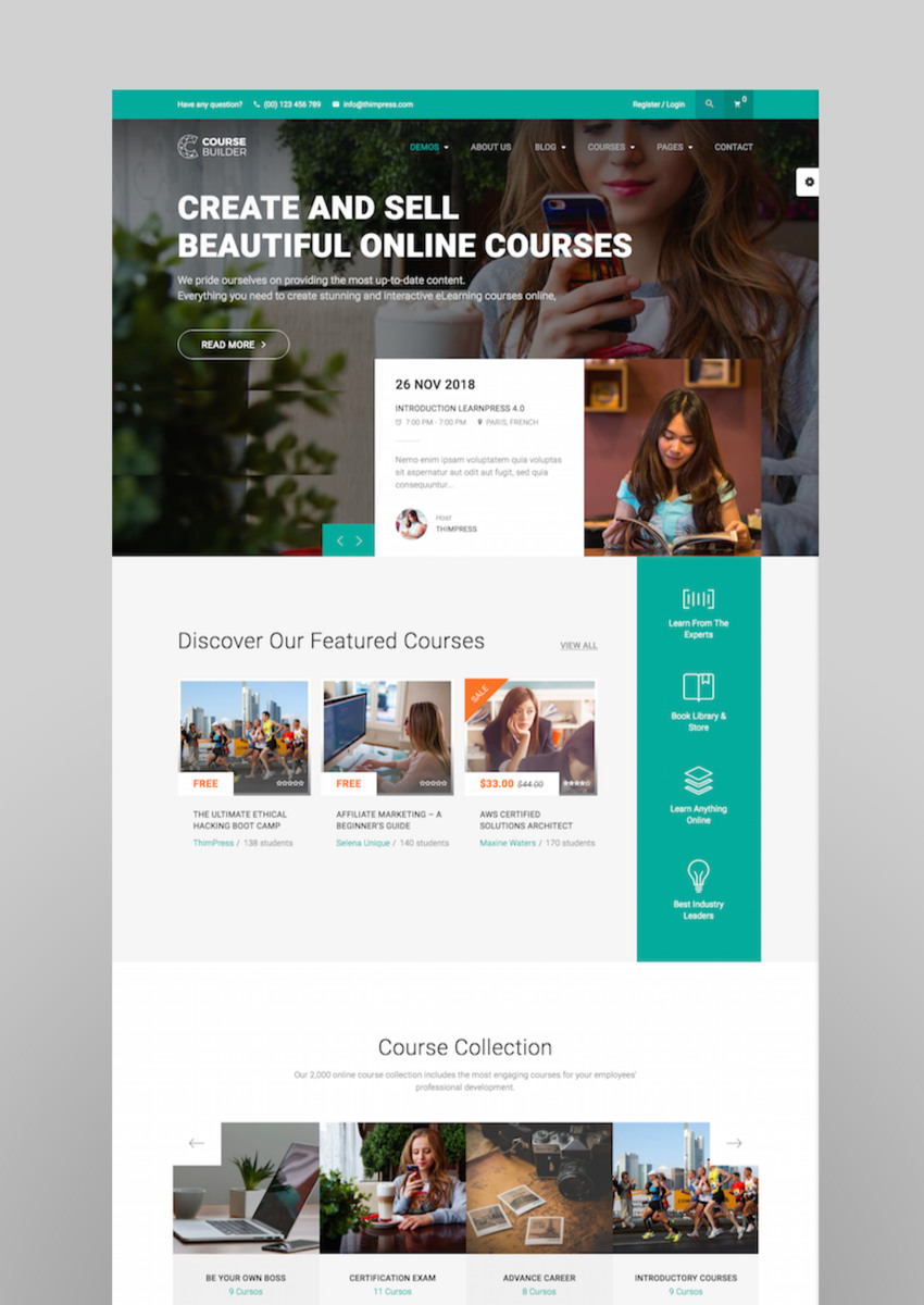 WordPress LMS Theme for Online Courses Schools  Education  Course Builder