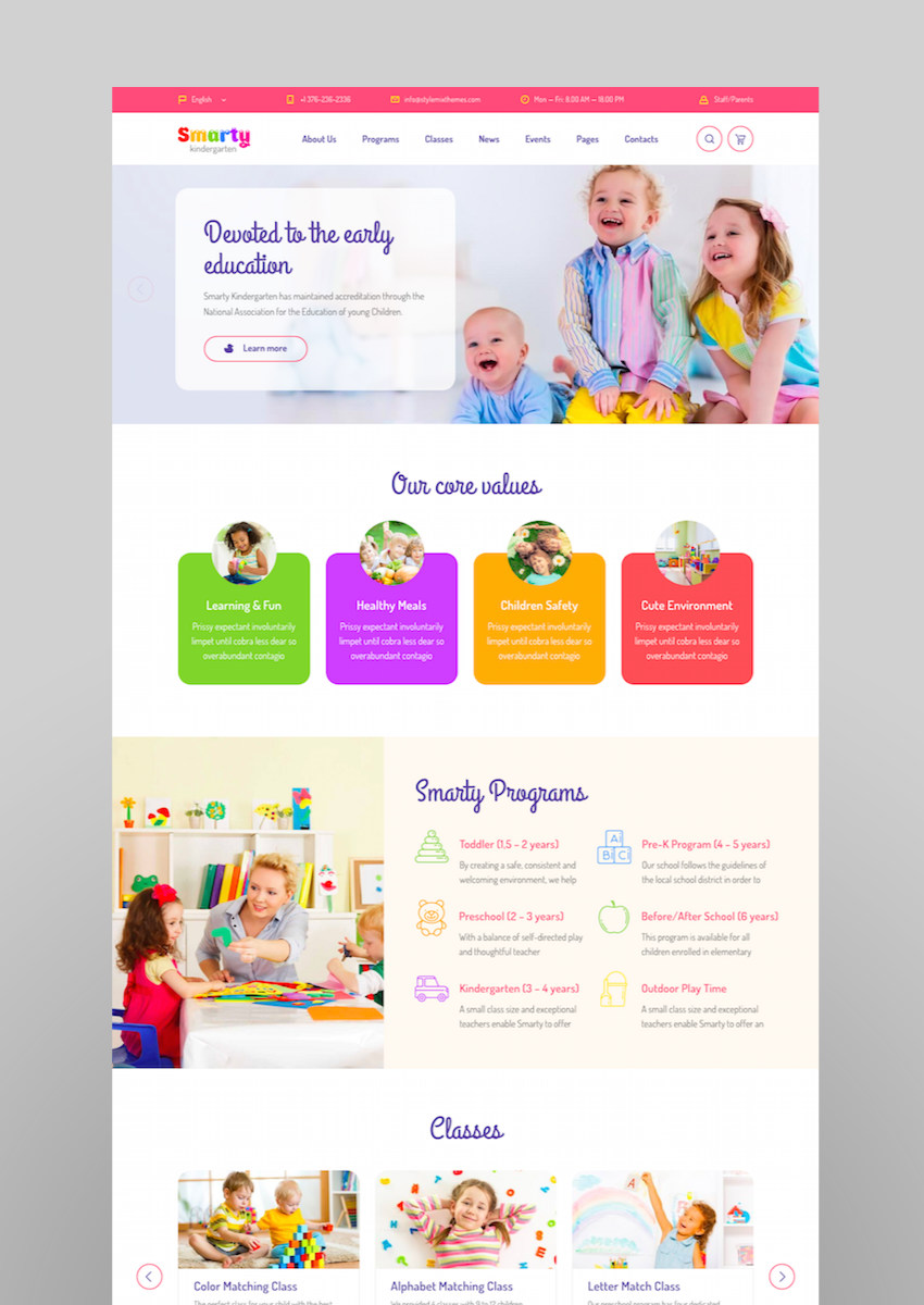 Smarty - Kindergarten School High school College University WordPress theme