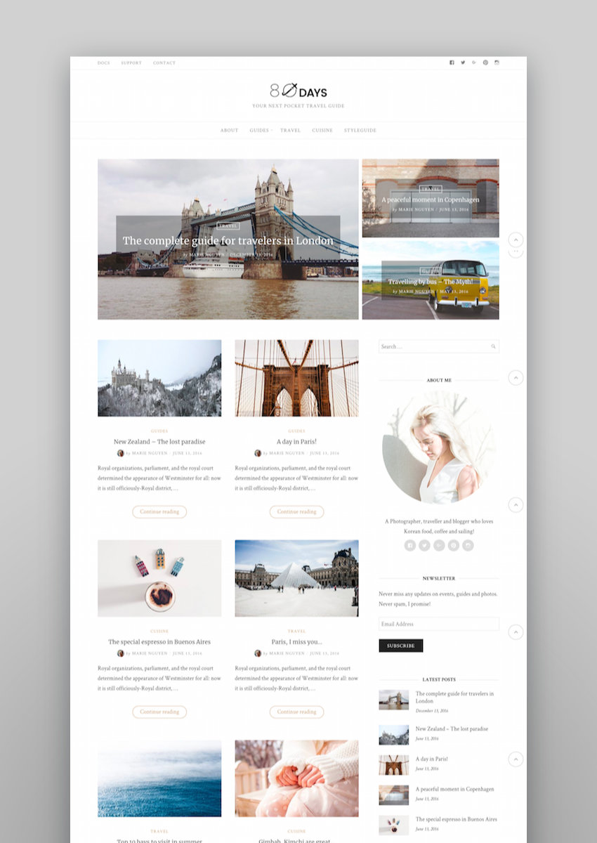 EightyDays - A WordPress Travel Theme For Travel Blogs