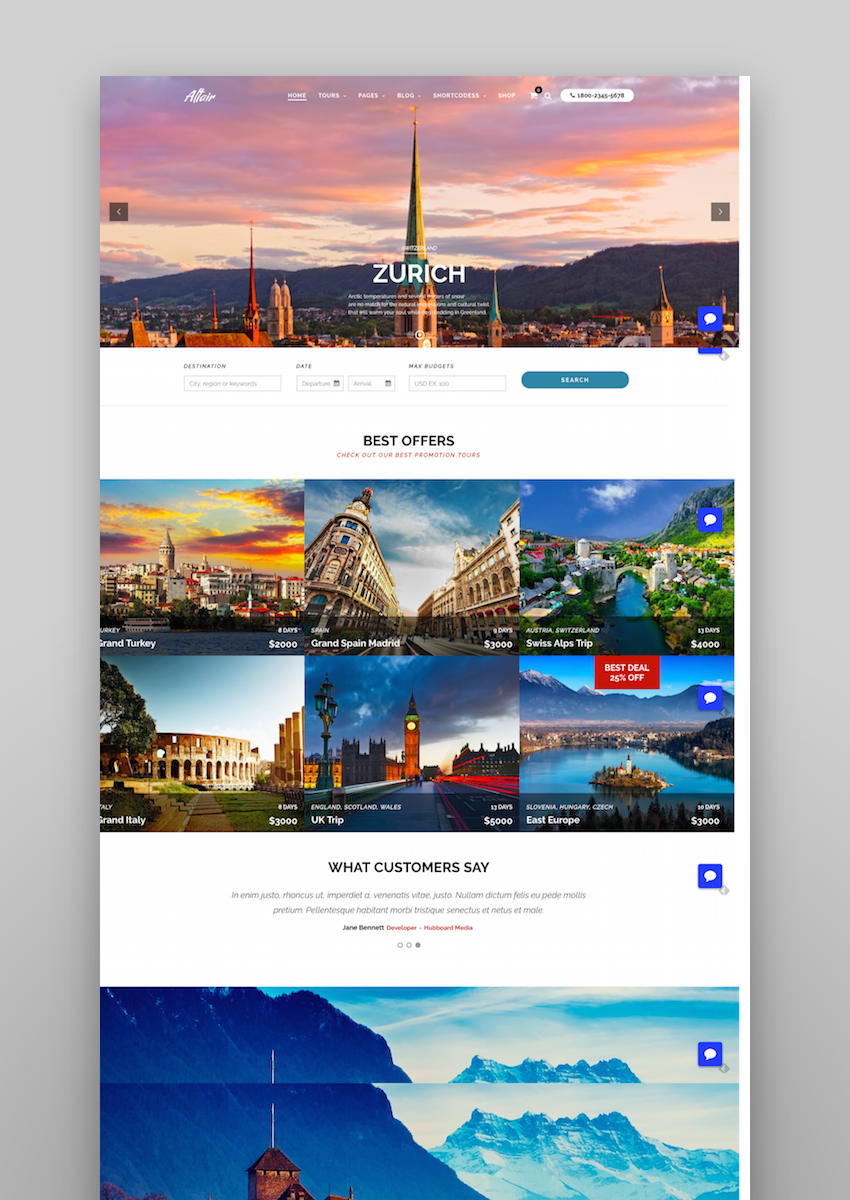 Travel Tour  Altair WordPress for Travel