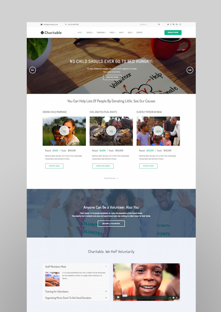 Charitable - Charity Nonprofit Organization WordPress Theme