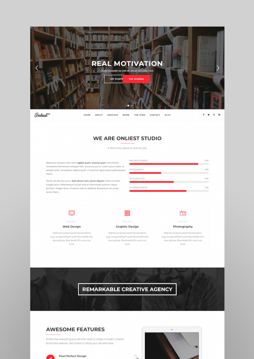 Onliest - Creative Portfolio One Page WP Theme
