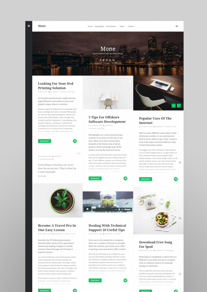 Mone - Responsive WordPress blog theme masonry grid