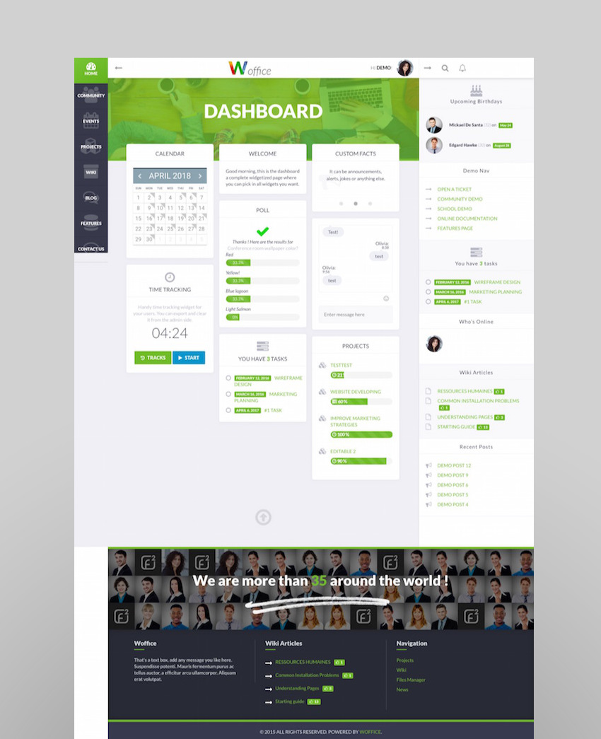 Woffice - IntranetExtranet WordPress Theme