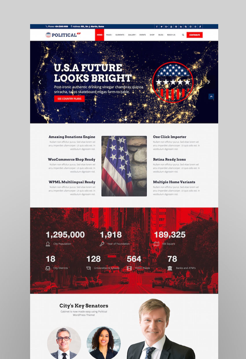 PoliticalWP - Multipurpose Political Campaign Election WordPress Theme