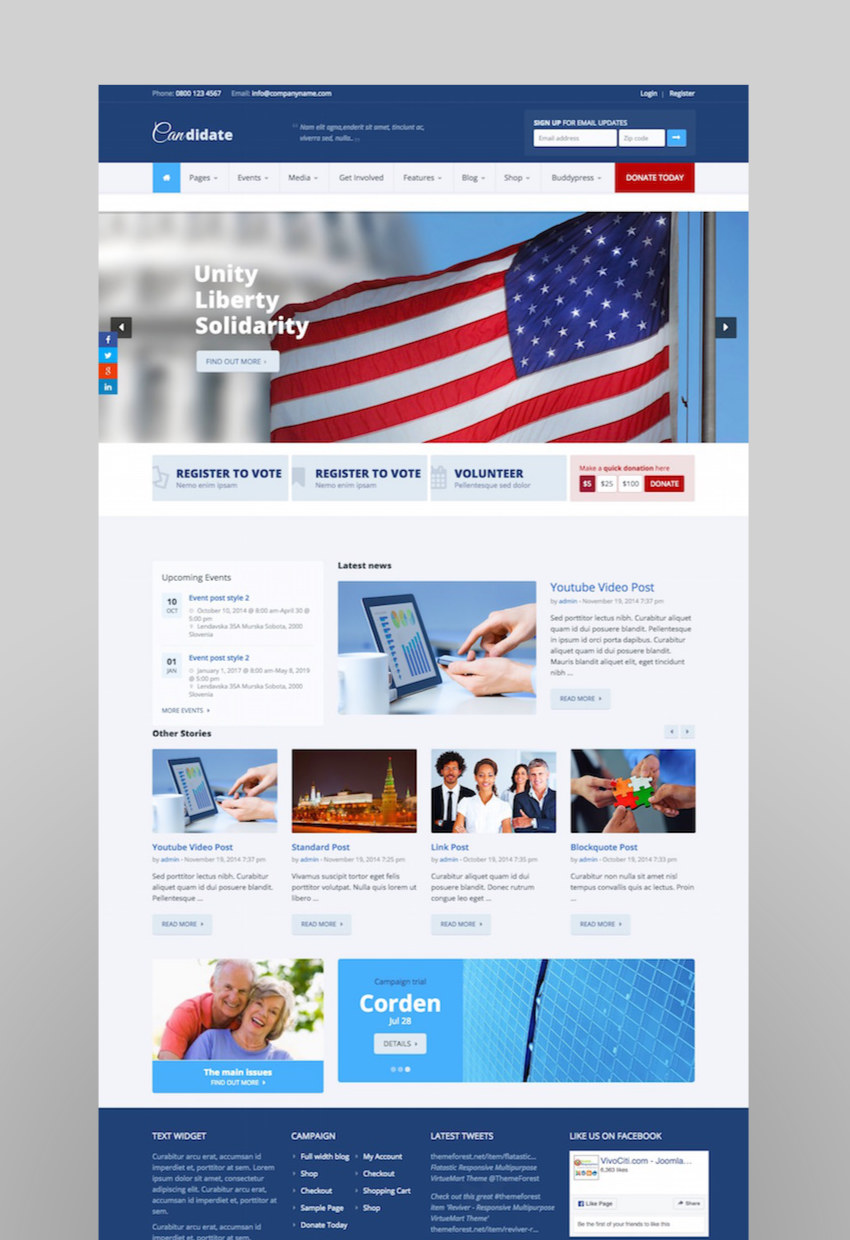 Candidate - PoliticalNonprofitChurch WordPress Theme