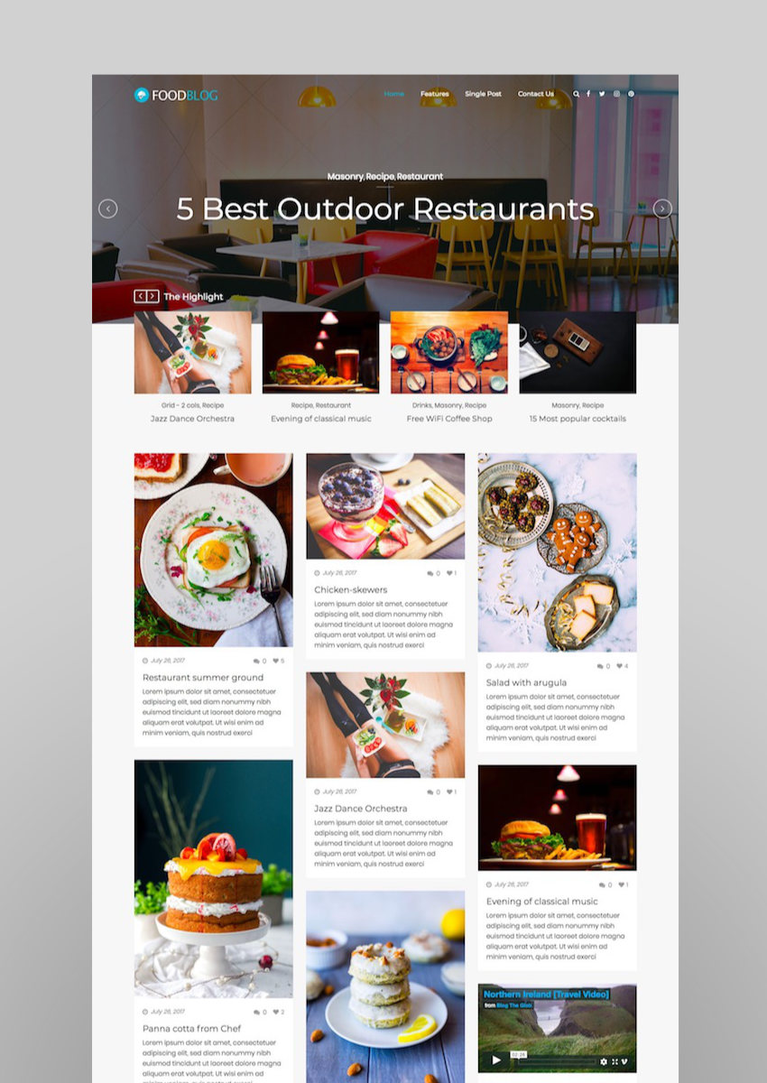 Food Blog  A Responsive WordPress Food Blog Theme