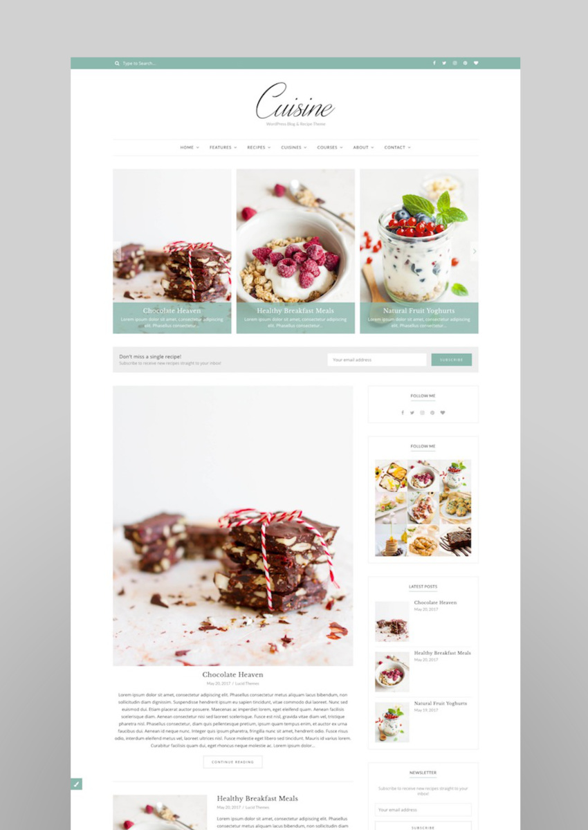 Cuisine - WordPress Blog  Recipe Theme