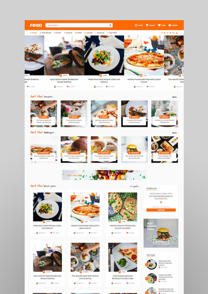 Tasty Food - Recipes  Food Blog WordPress Theme