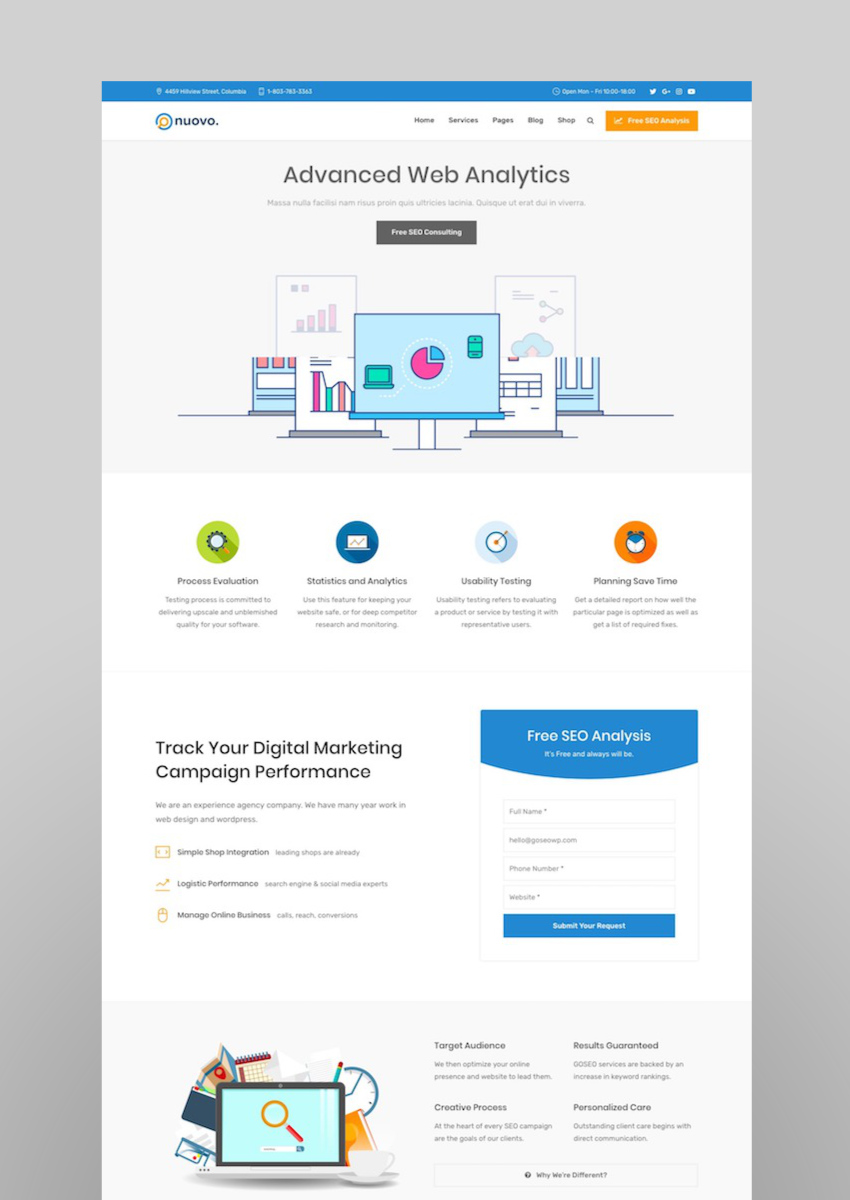 Nuovo - Social Media Digital Marketing Agency SEO WordPress Theme