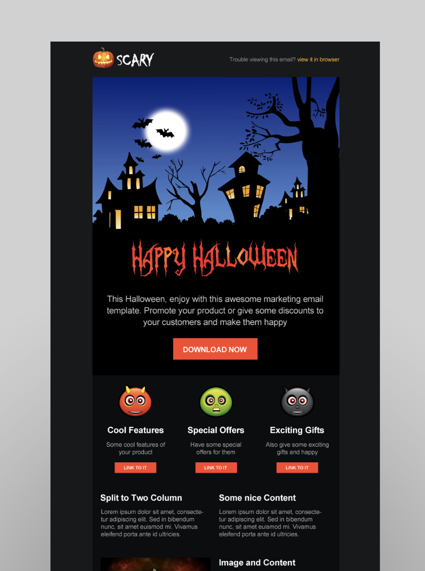 Scary, plantilla para campañas de email marketing de Halloween.