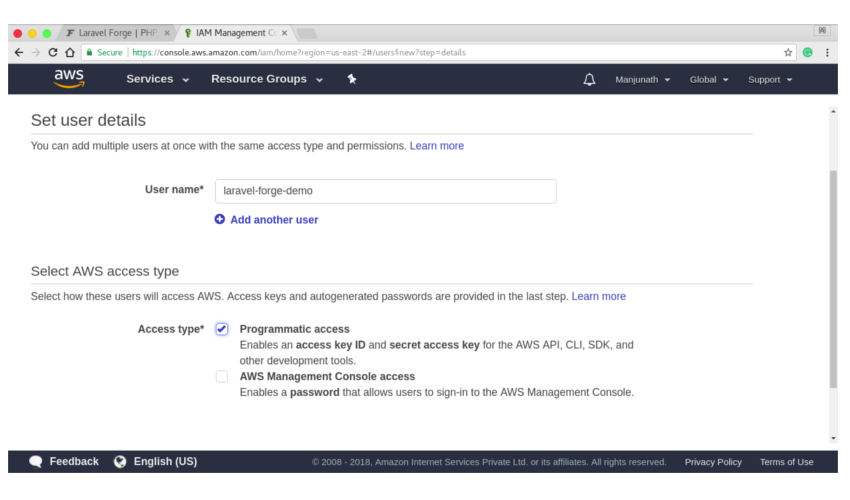Create an IAM user on AWS with programmatic access