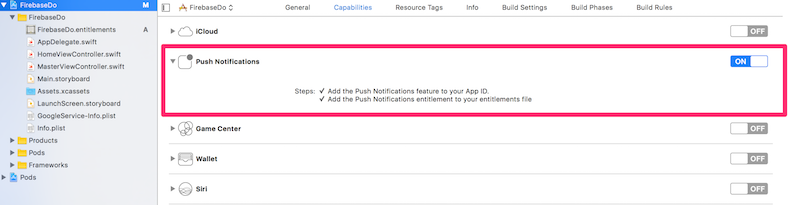 Adding Push Notifications in Xcode