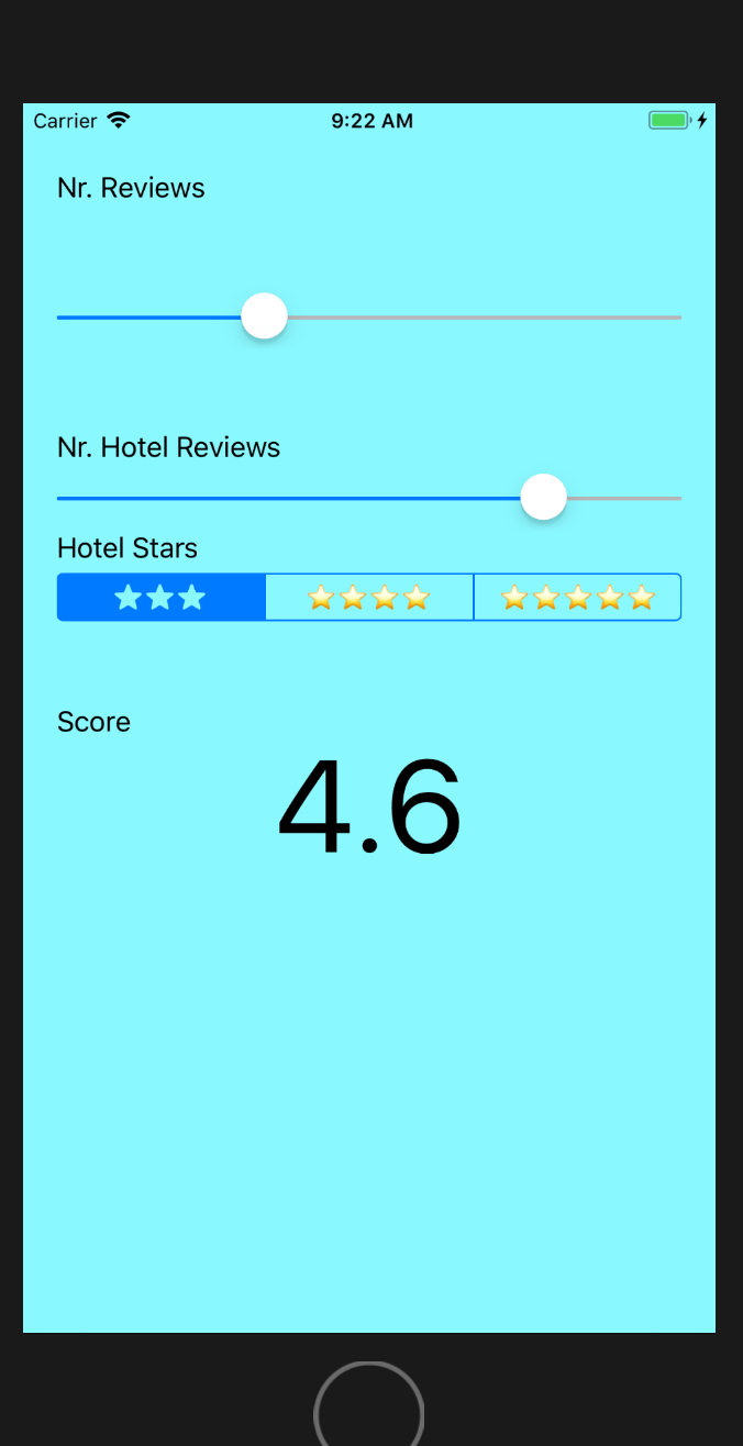 The final app UI