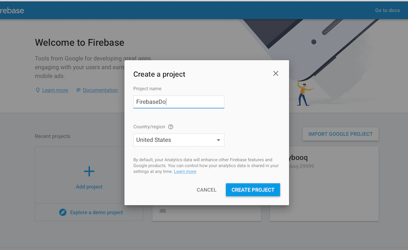 Create a project in the Firebase panel