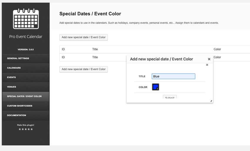 Coloring events in the calendar