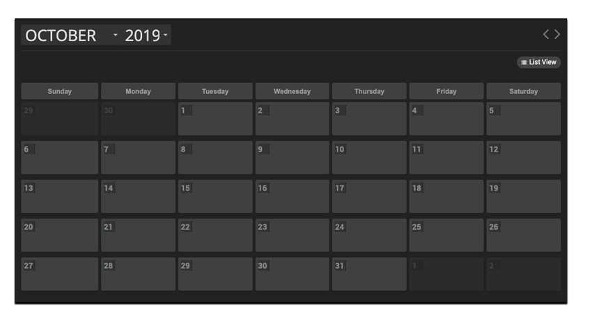 The finished event calendar