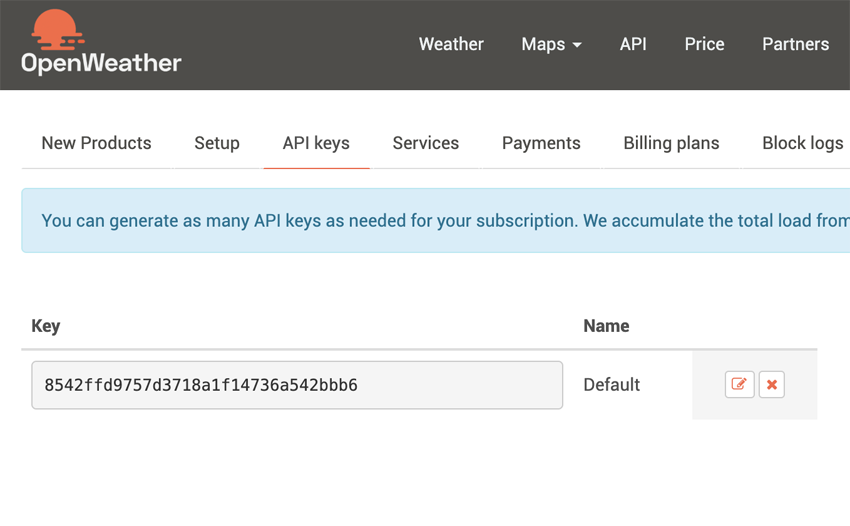 Getting OpenWeather API key