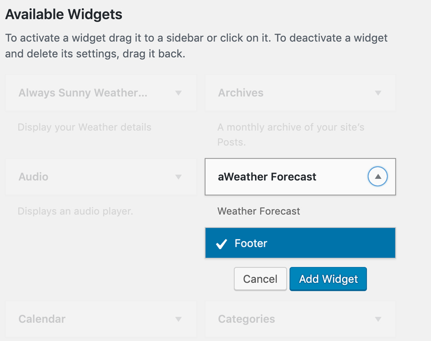 Adding aWeather To Footer
