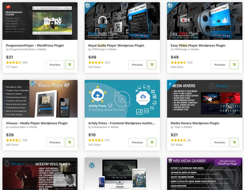 Best-selling audio and video player plugins available on CodeCanyon