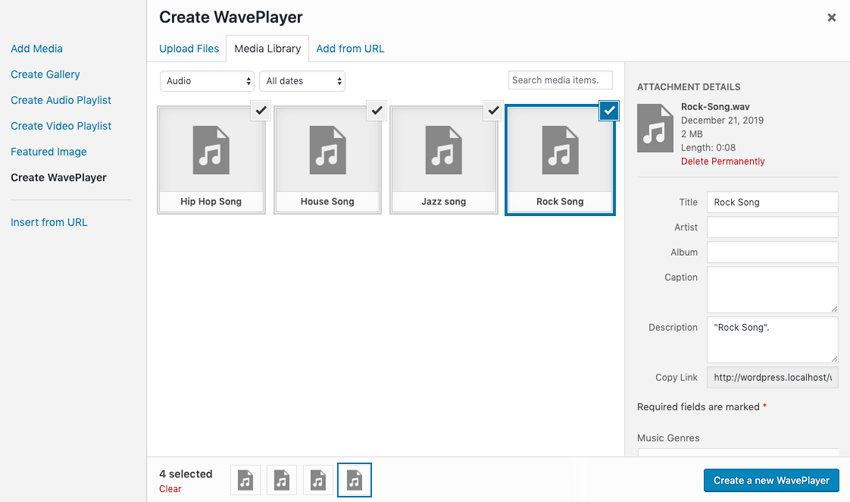WavePlayer Select new media