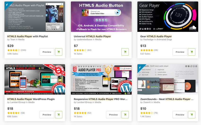Best-Selling HTML5 Audio Player WordPress Plugins On CodeCanyon