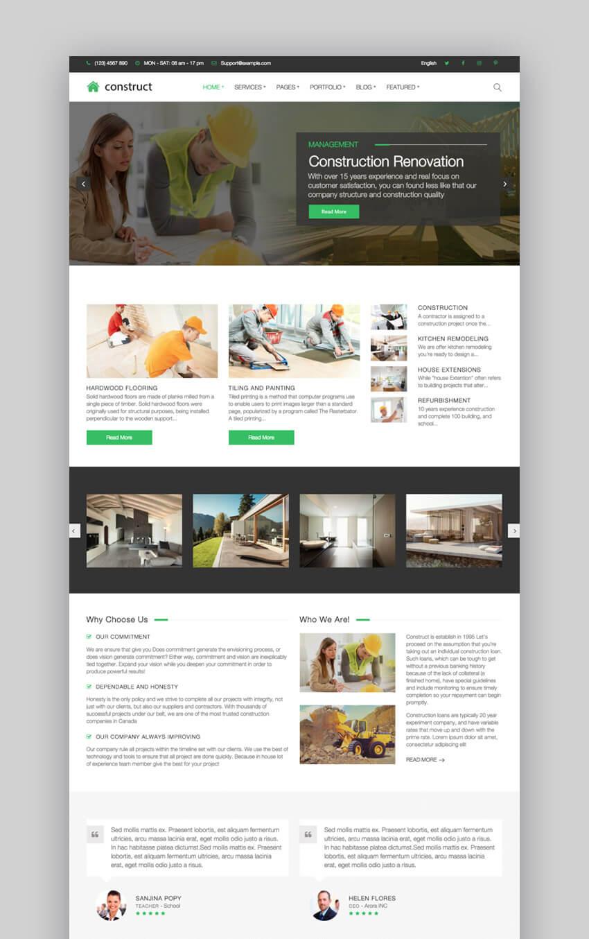 WordPress Theme Construct - Simple WordPress Construction Company Theme