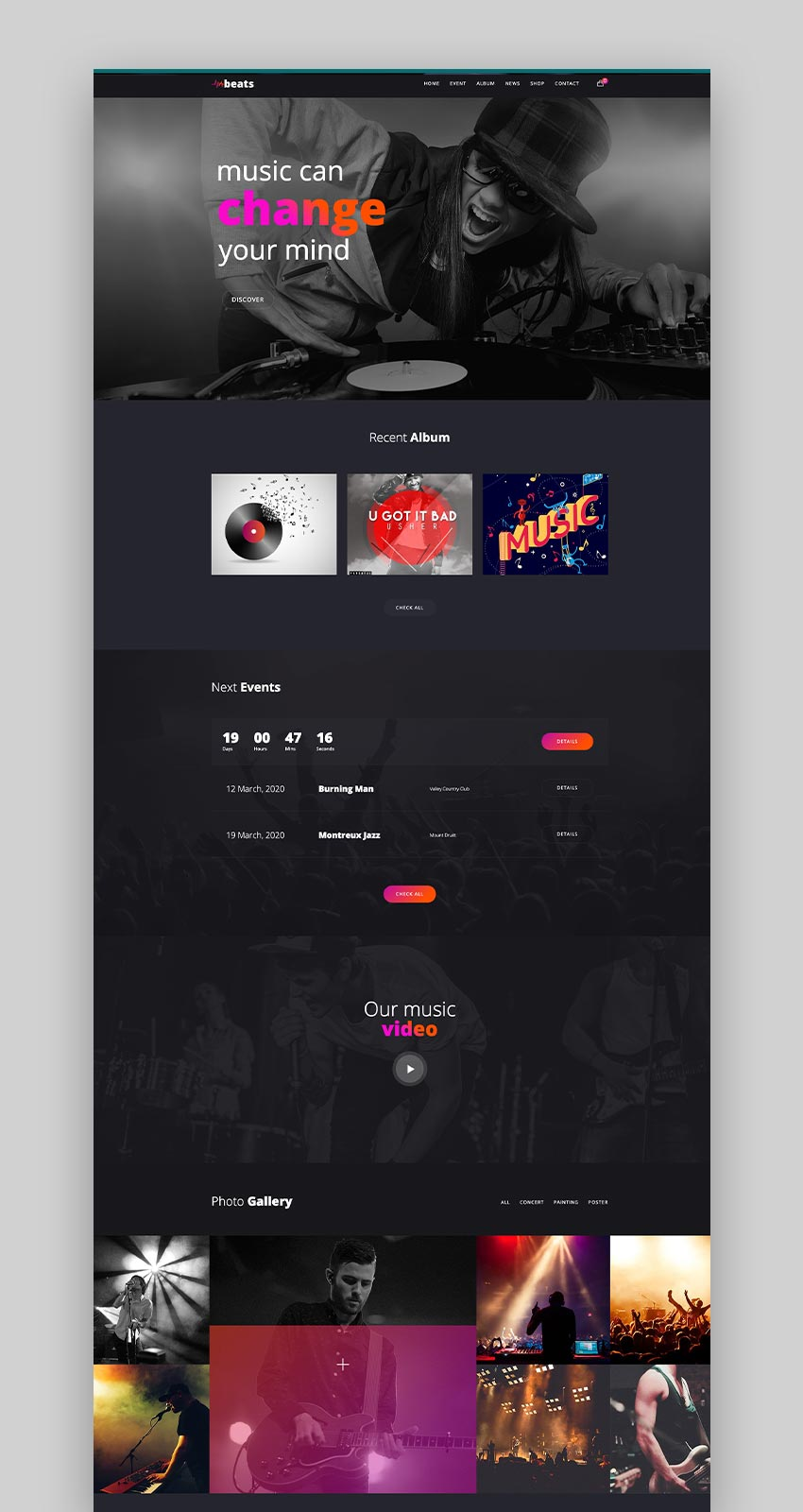 Beats - Responsive Music  Event WordPress Theme