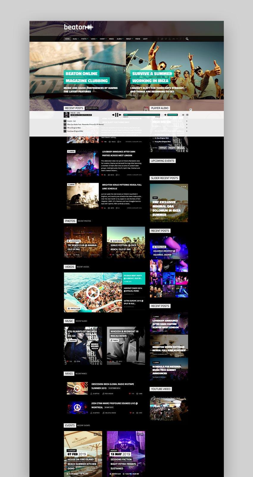 Beaton - Music Radio  Events WordPress Theme