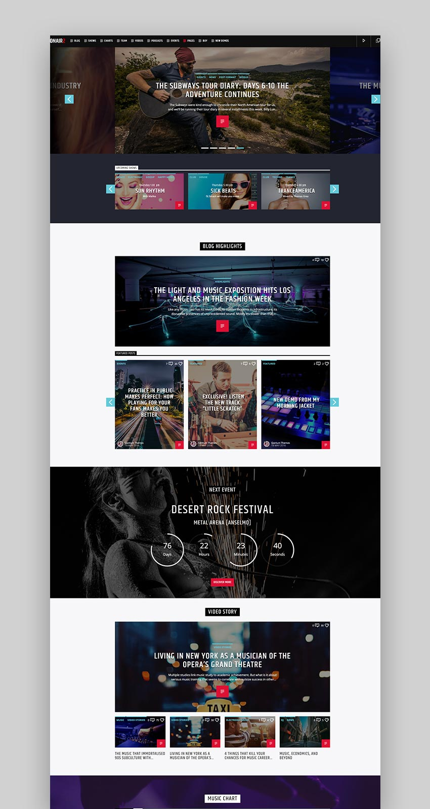 Onair2 Radio Station WordPress Theme With Non-Stop Music Player