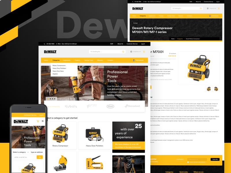 DeWalt Concept Ecommerce Website Sketch Resource