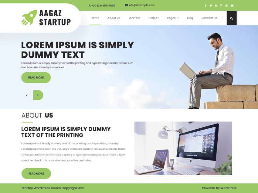 Aagaz Startup Free SaaS WordPress Theme