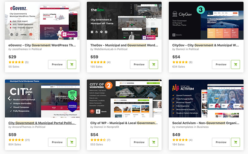 Best-Selling Government WordPress Themes on ThemeForest