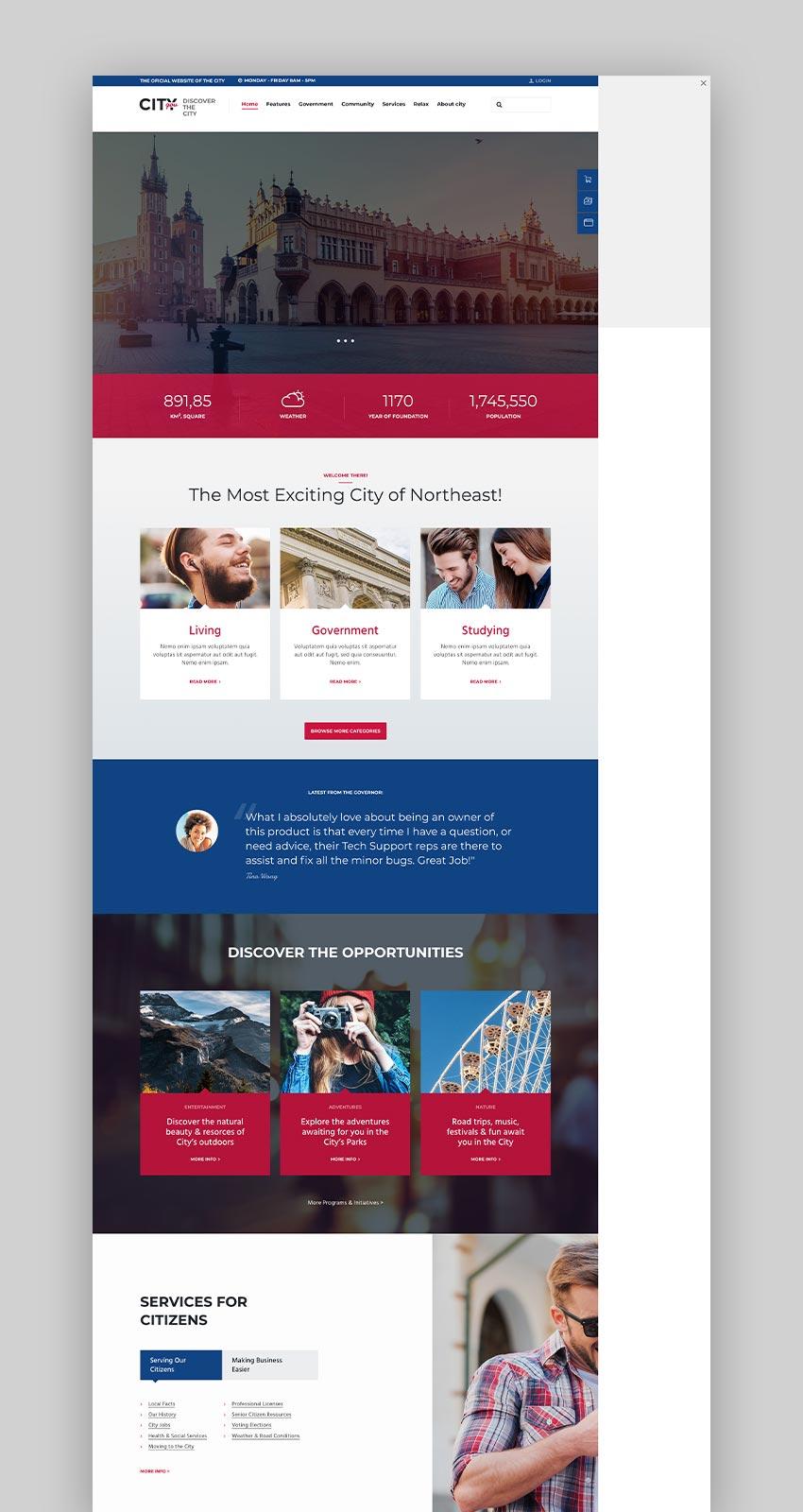 City Government  Municipal WordPress Theme