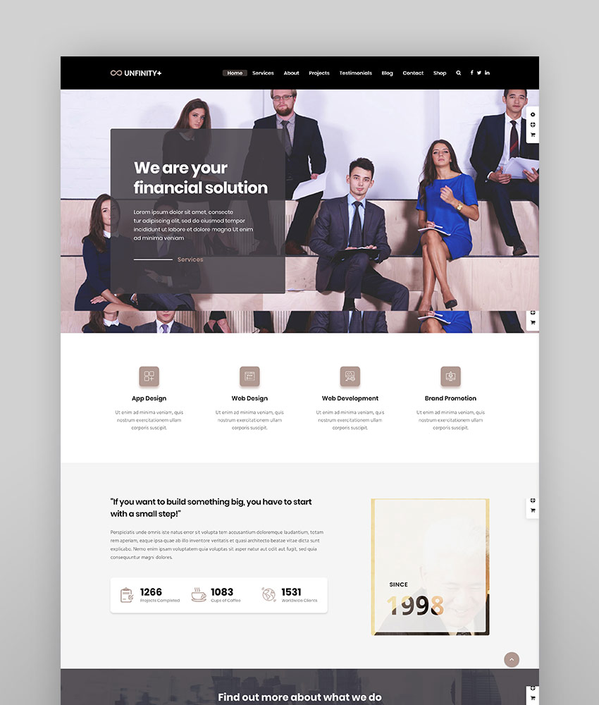 Unfinity - One page WordPress