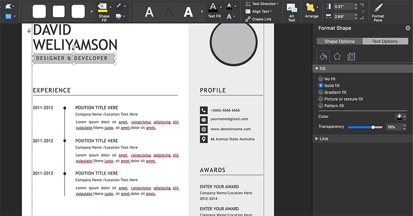 Add in color fills to your headings