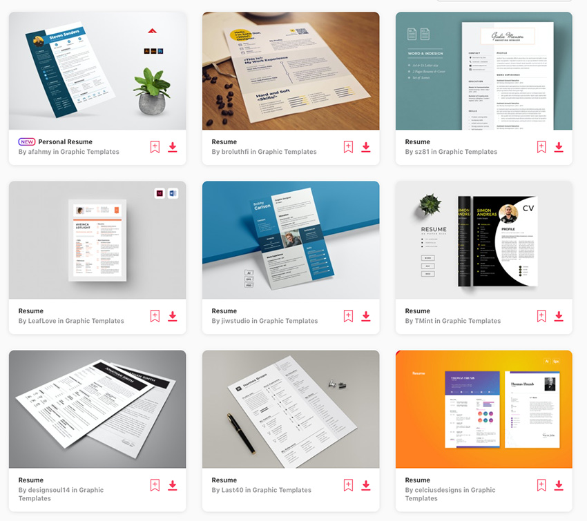 Best selling Envato Elements Resumes