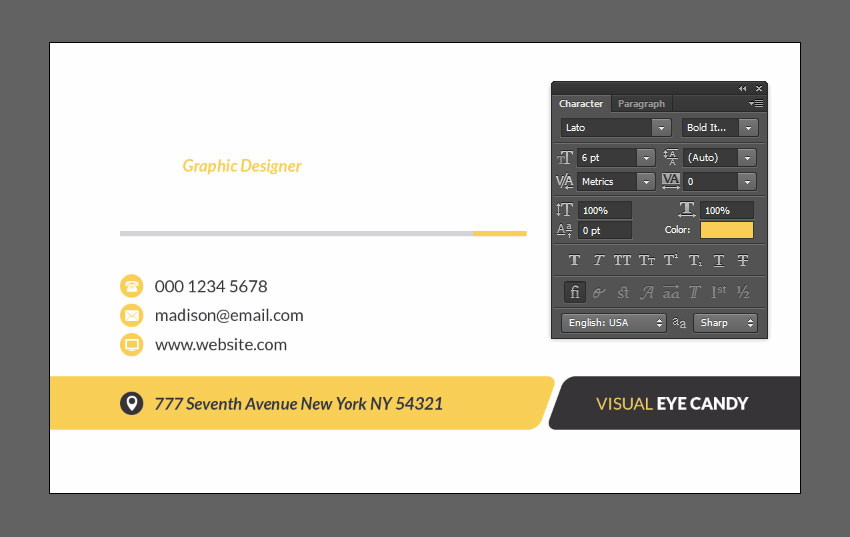 How to create a modern business card using adobe photoshop set character styles colourmoves