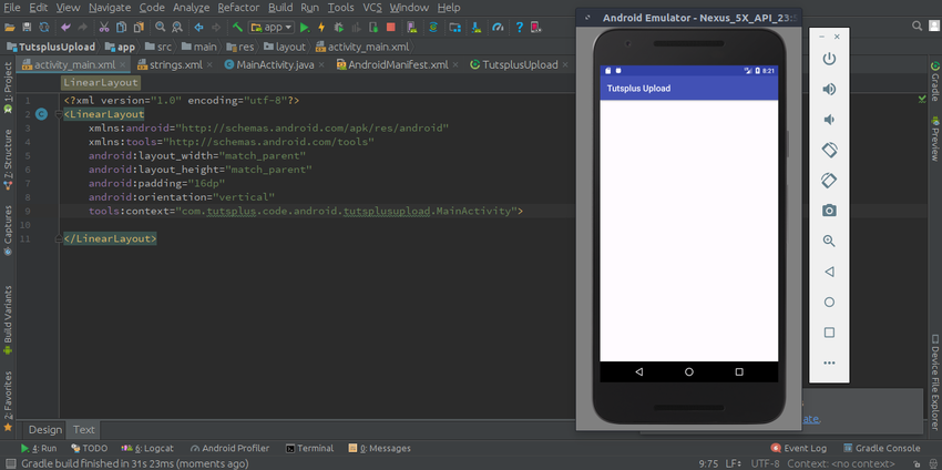 how the code displays on an Android device