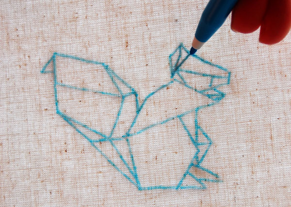 Trace your pattern using an embroidery transfer pen